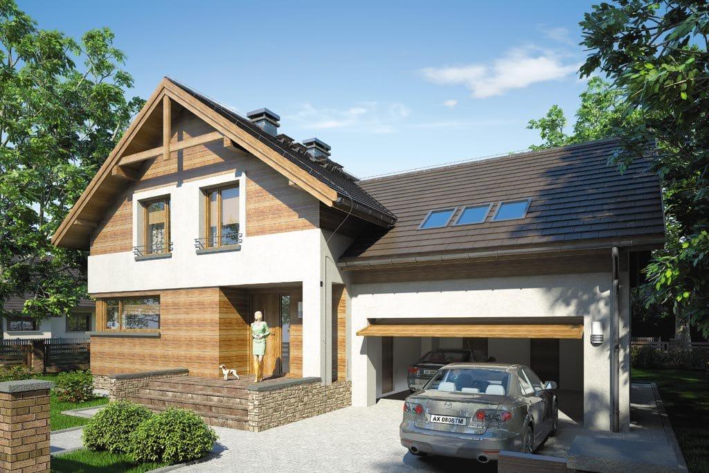 Проект мансардного дома с гаражом, террасой «КМ-65» - фото №1