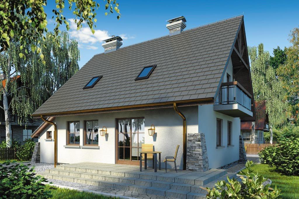 Проект мансардного дома с гаражом, террасой и балконом «КМ-66» - фото №3