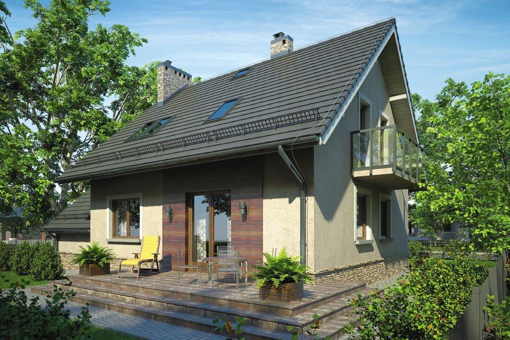 Проект мансардного дома с гаражом, террасой и балконом «КМ-67» - фото №3