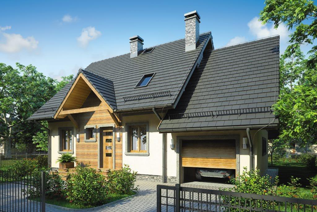 Проект мансардного дома с гаражом, террасой и балконом «КМ-70» - фото №1