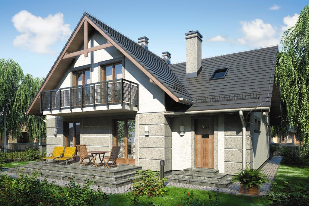 Проект мансардного дома с гаражом, террасой и балконом «КМ-71» - фото №2
