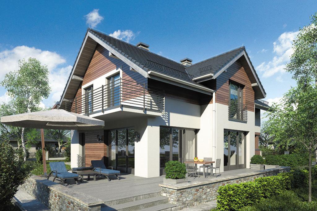 Проект мансардного дома с гаражом, террасой и балконом «КМ-72» - фото №2