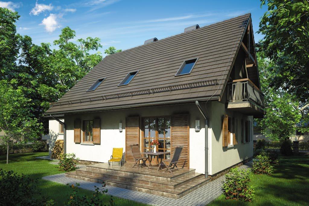 Проект мансардного дома с гаражом, террасой и балконом «КМ-73» - фото №2