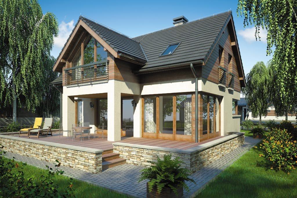 Проект мансардного дома с террасой «КМ-74» - фото №2