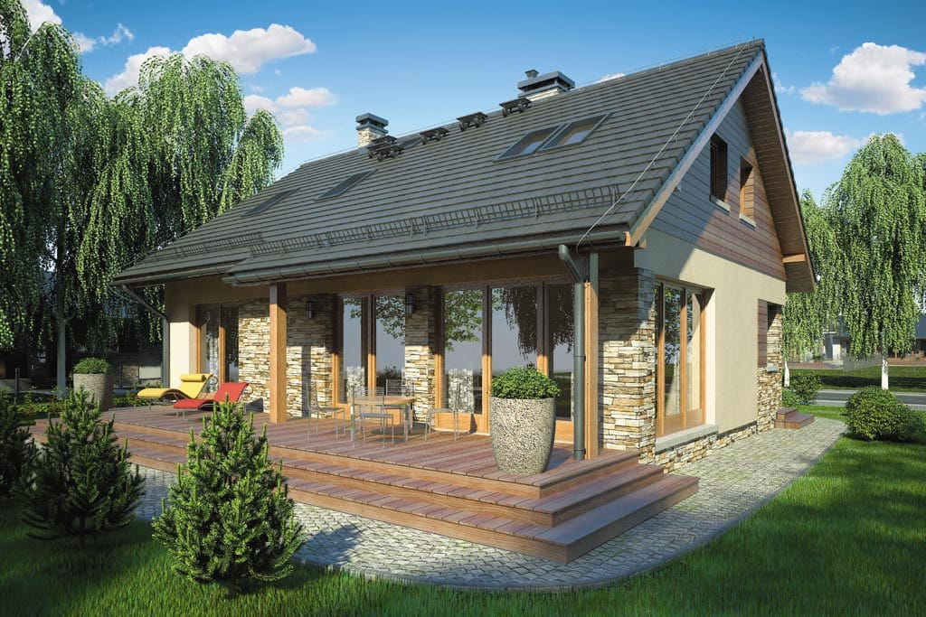 Проект мансардного дома с террасой «КМ-75» - фото №2