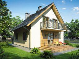 Проект мансардного дома с гаражом, балконом и террасой «КМ-76»