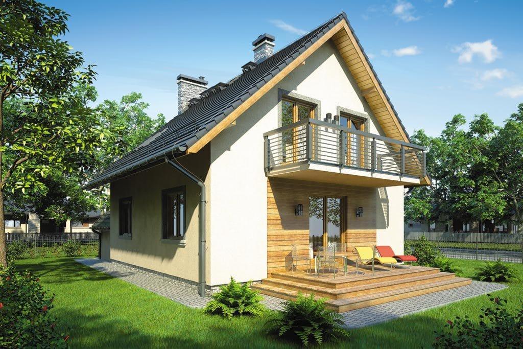 Проект мансардного дома с гаражом, террасой и балконом «КМ-78» - фото №3