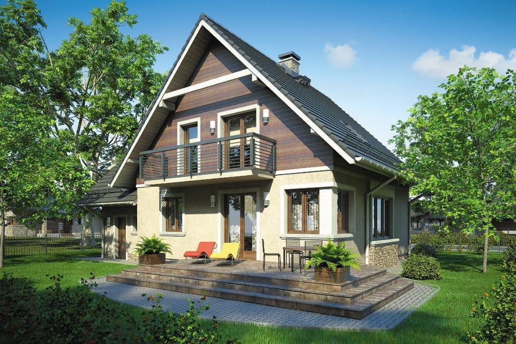 Проект мансардного дома с гаражом, террасой и балконом «КМ-77» - фото №2