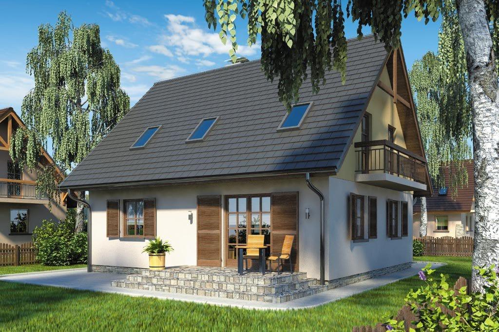 Проект мансардного дома с гаражом, террасой и балконом «КМ-78» - фото №2