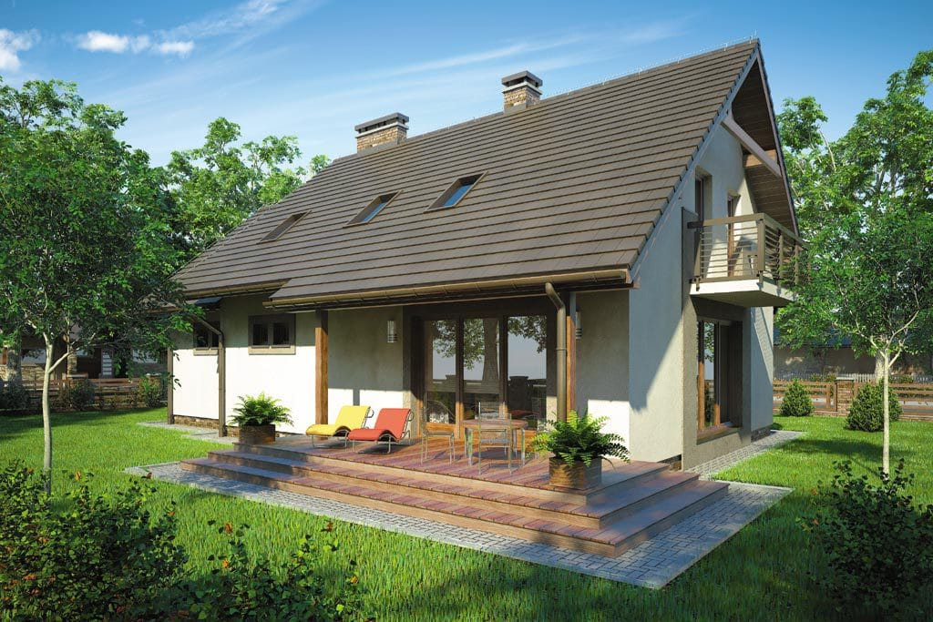 Проект мансардного дома с гаражом, террасой и балконом «КМ-79» - фото №2