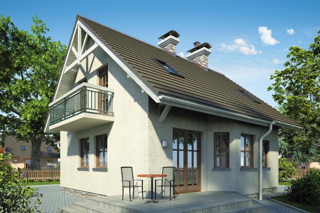 Проект мансардного дома с гаражом, террасой и балконом «КМ-81» - фото №2