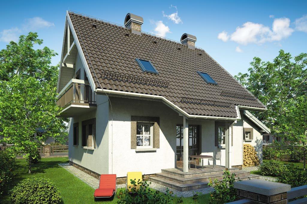 Проект мансардного дома с гаражом, террасой и балконом «КМ-82» - фото №2
