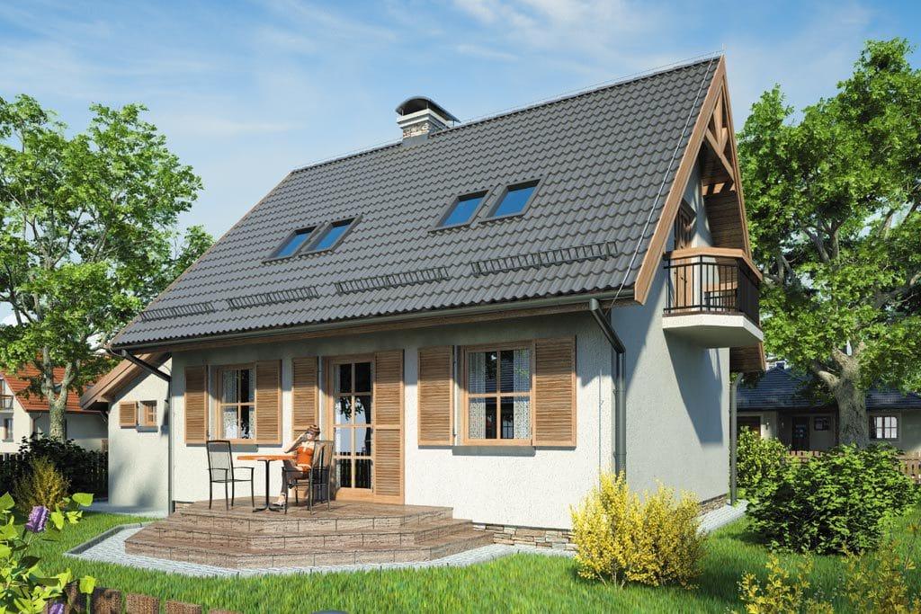 Проект мансардного дома с гаражом, террасой и балконом «КМ-85» - фото №2