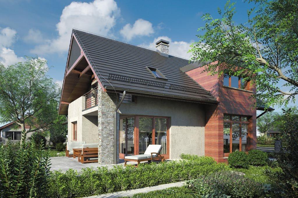 Проект мансардного дома с гаражом, террасой и балконом «КМ-86» - фото №2