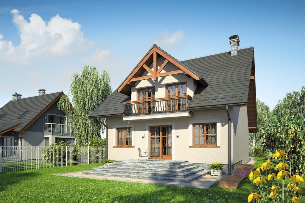 Проект мансардного дома с гаражом, террасой и балконом «КМ-87» - фото №2