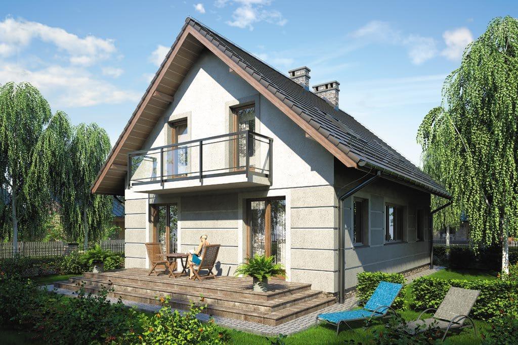 Проект мансардного дома с террасой и балконом «КМ-88» - фото №2