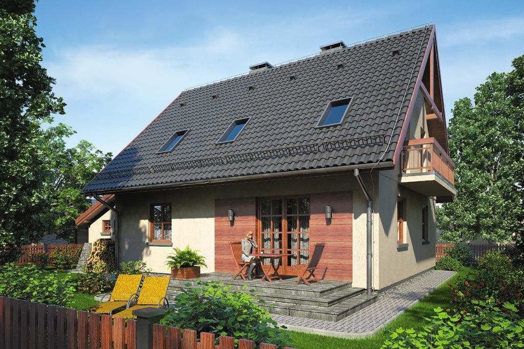 Проект мансардного дома с гаражом, террасой и балконом «КМ-89» - фото №2