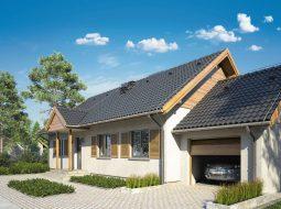 Проект одноэтажного дома с террасой и гаражом «КО-112»
