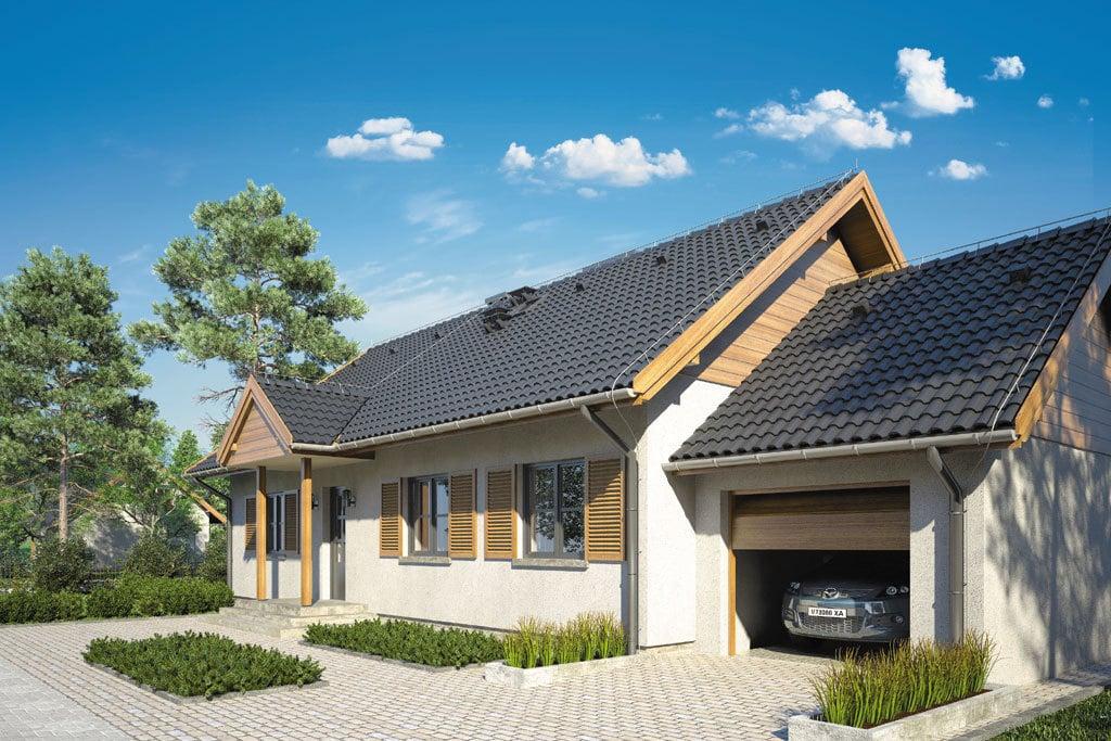 Проект одноэтажного дома с террасой и гаражом «КО-112» - фото №1