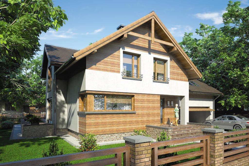 Проект мансардного дома с гаражом, террасой «КМ-65» - фото №2