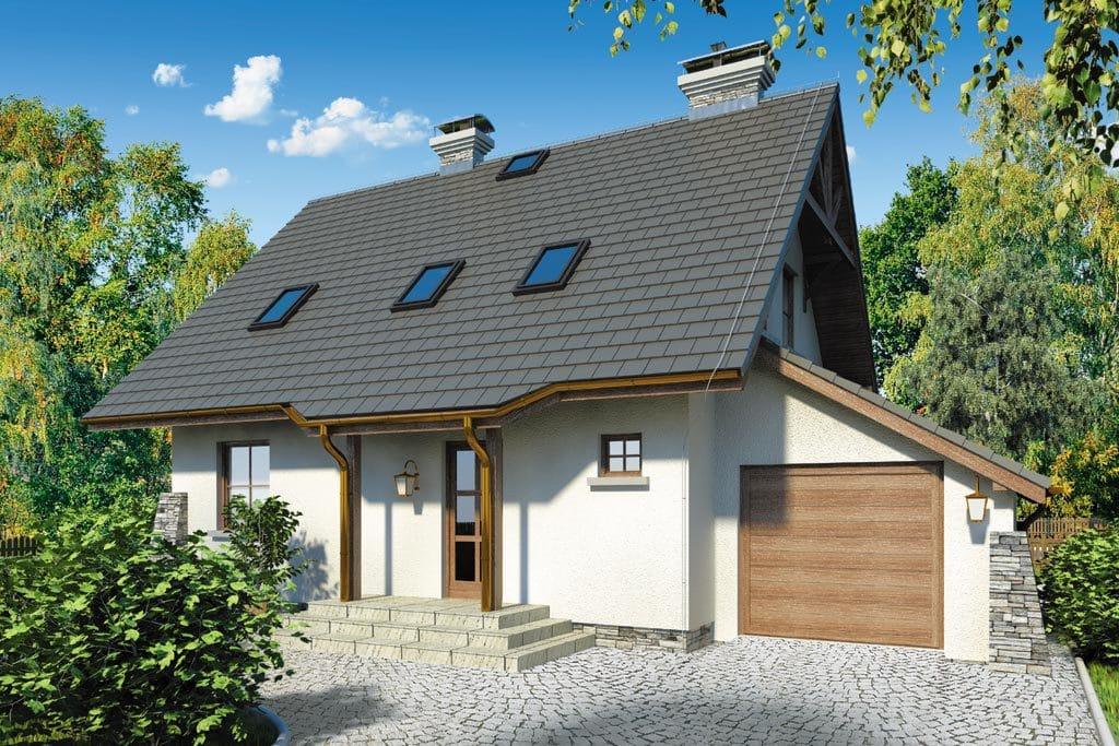 Проект мансардного дома с гаражом, террасой и балконом «КМ-66» - фото №1