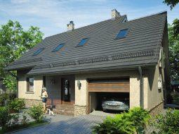 Проект мансардного дома с гаражом, террасой и балконом «КМ-67»