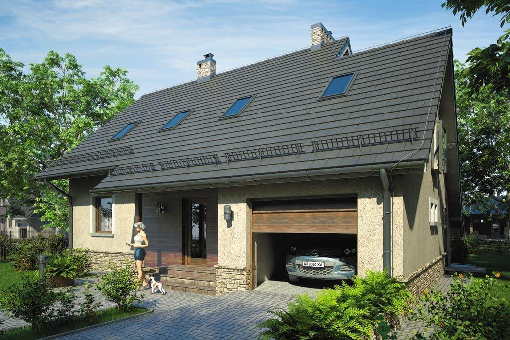 Проект мансардного дома с гаражом, террасой и балконом «КМ-67» - фото №1