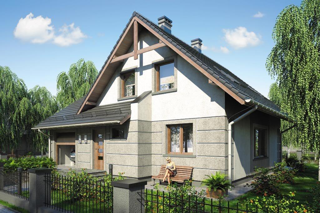 Проект мансардного дома с гаражом, террасой и балконом «КМ-71» - фото №3