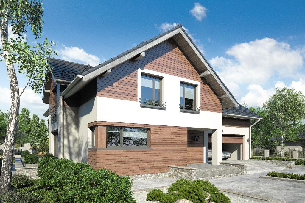 Проект мансардного дома с гаражом, террасой и балконом «КМ-72» - фото №3