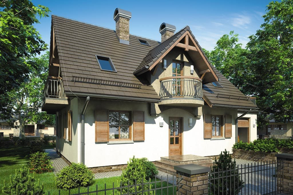 Проект мансардного дома с гаражом, террасой и балконом «КМ-73» - фото №3