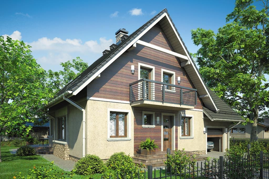 Проект мансардного дома с гаражом, террасой и балконом «КМ-77» - фото №3