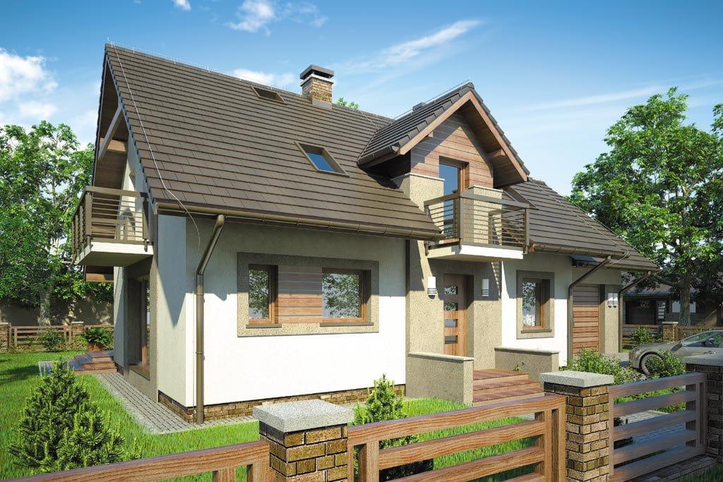 Проект мансардного дома с гаражом, террасой и балконом «КМ-79» - фото №3