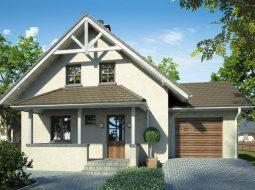 Проект мансардного дома с гаражом, террасой и балконом «КМ-81»