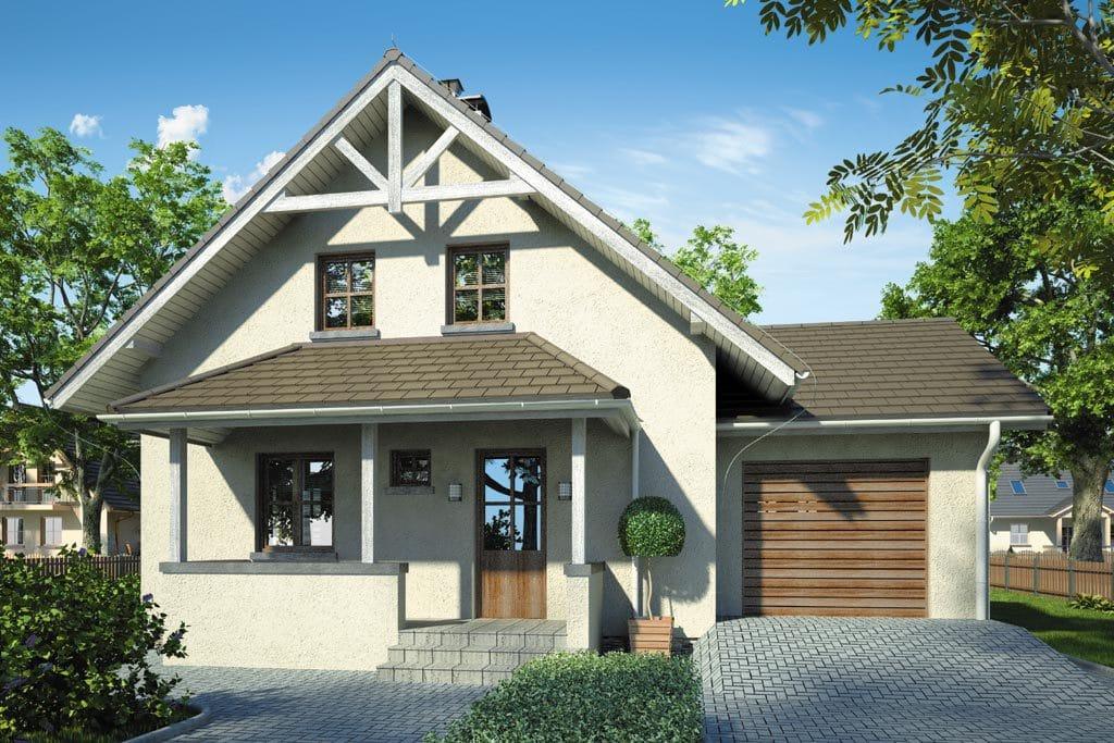 Проект мансардного дома с гаражом, террасой и балконом «КМ-81» - фото №3