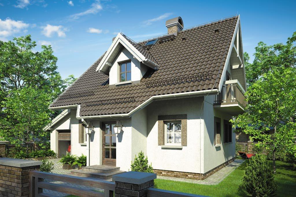 Проект мансардного дома с гаражом, террасой и балконом «КМ-82» - фото №3