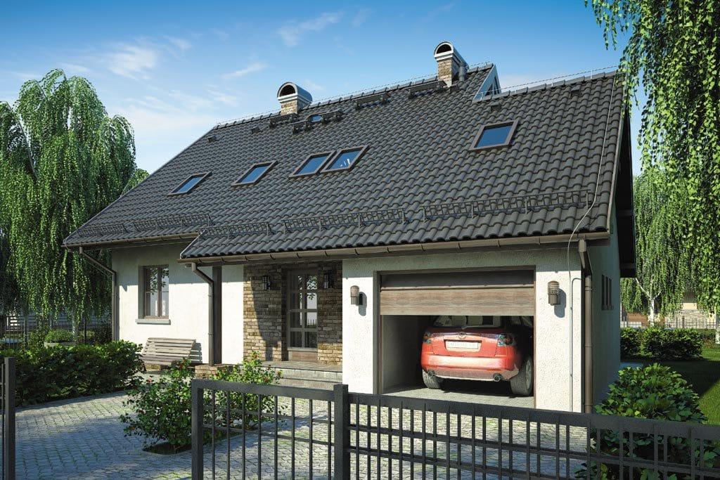 Проект мансардного дома с гаражом, террасой и балконом «КМ-83» - фото №1