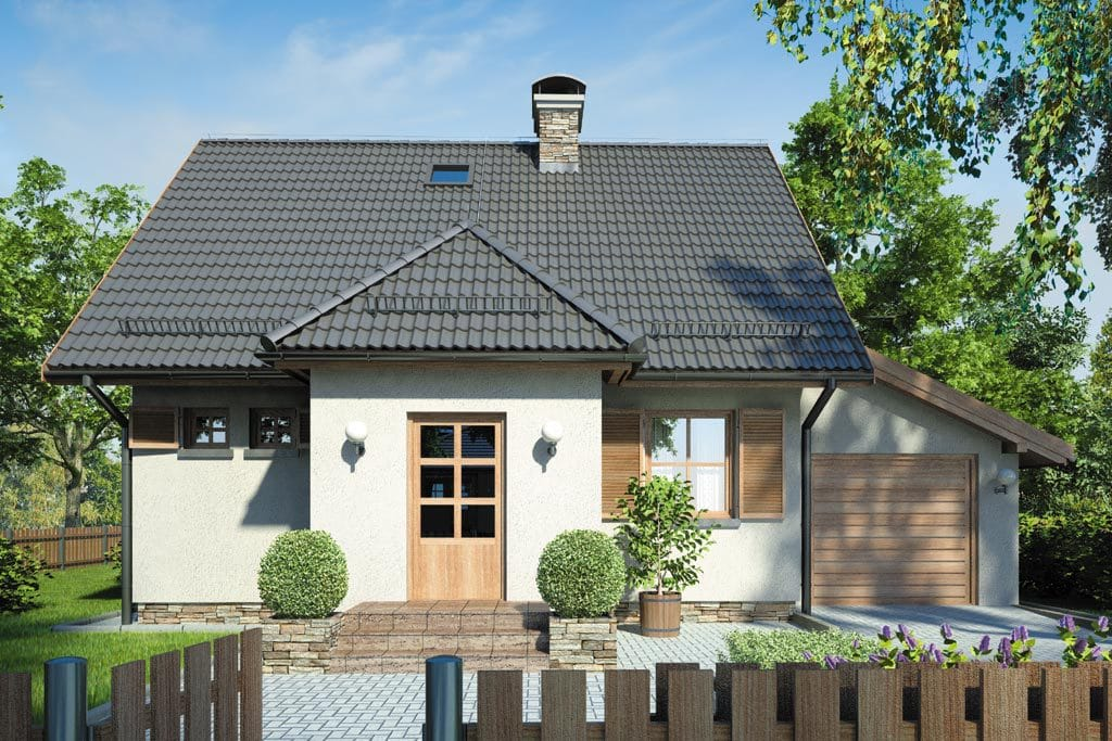 Проект мансардного дома с гаражом, террасой и балконом «КМ-85» - фото №3