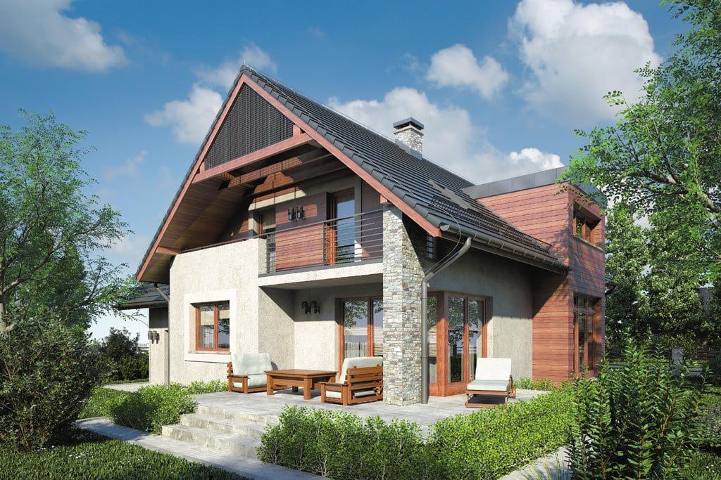 Проект мансардного дома с гаражом, террасой и балконом «КМ-86» - фото №3