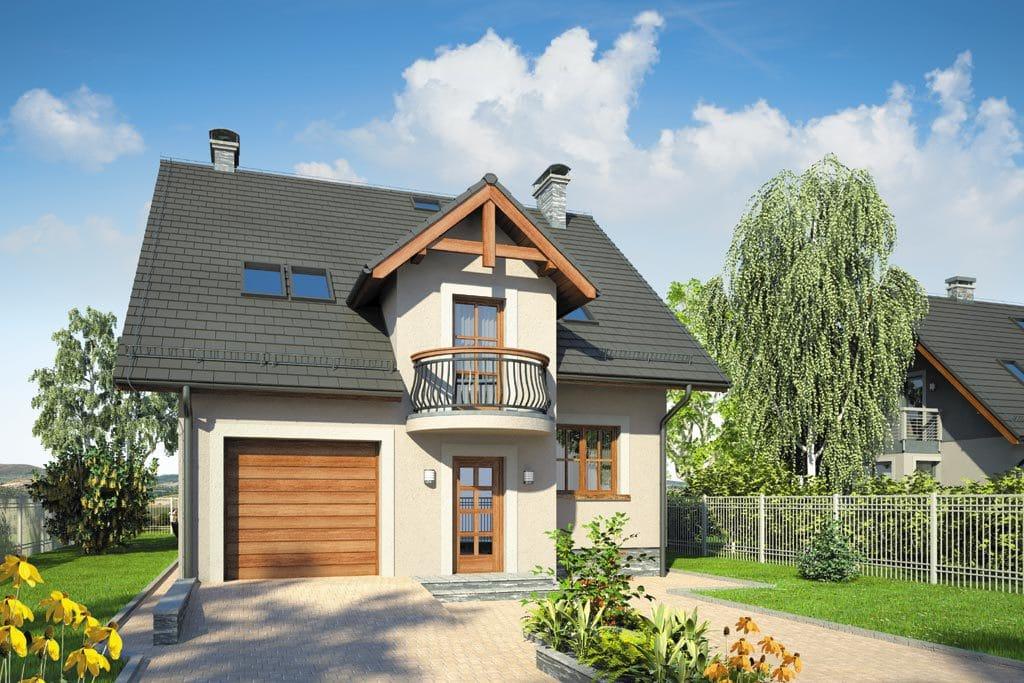 Проект мансардного дома с гаражом, террасой и балконом «КМ-87» - фото №3