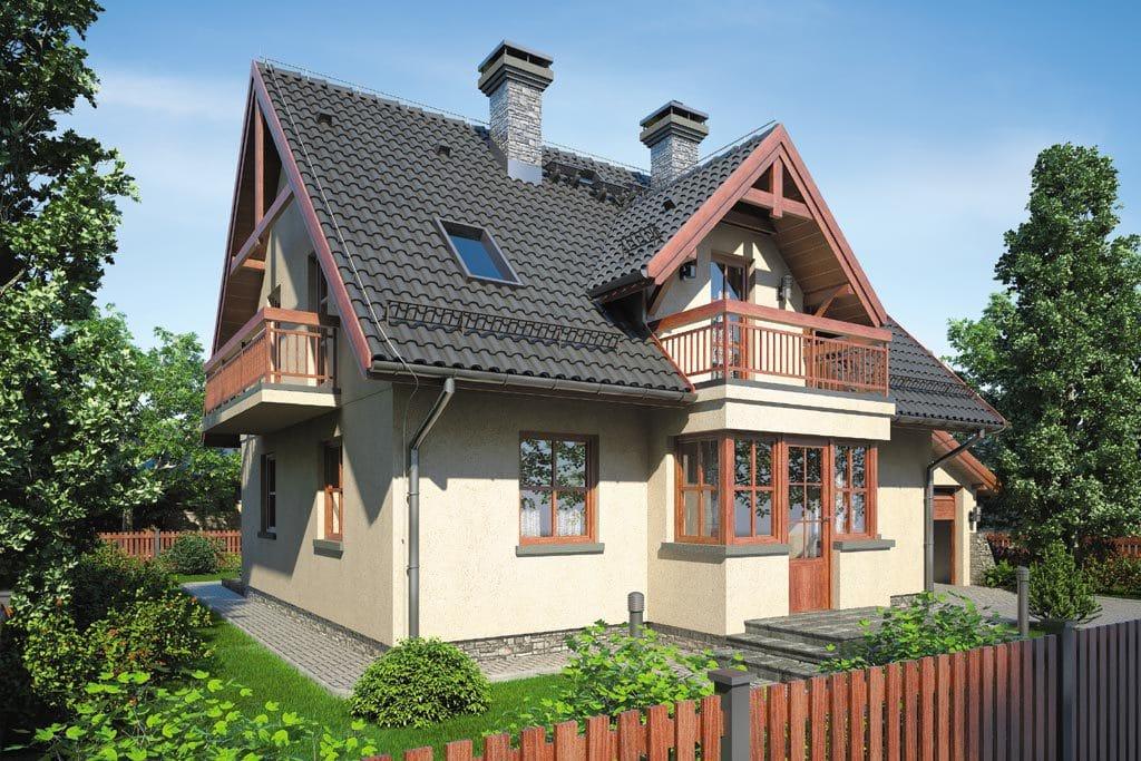 Проект мансардного дома с гаражом, террасой и балконом «КМ-89» - фото №3