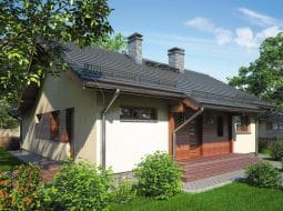 Проект одноэтажного дома с террасой «КО-80»