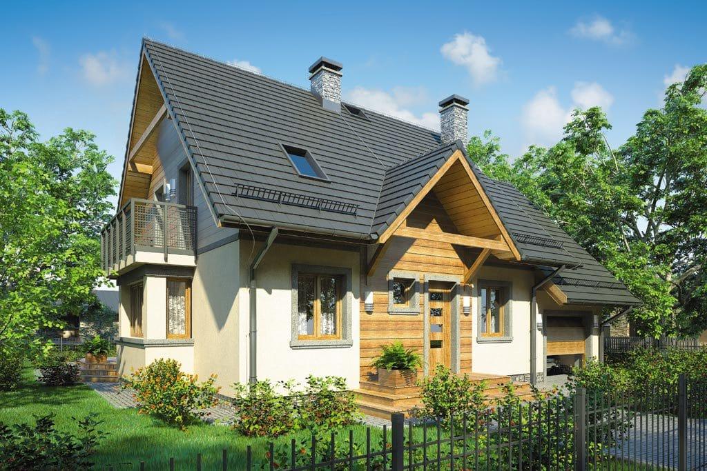 Проект мансардного дома с гаражом, террасой и балконом «КМ-70» - фото №2
