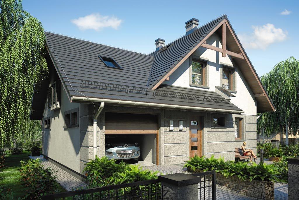 Проект мансардного дома с гаражом, террасой и балконом «КМ-71» - фото №4