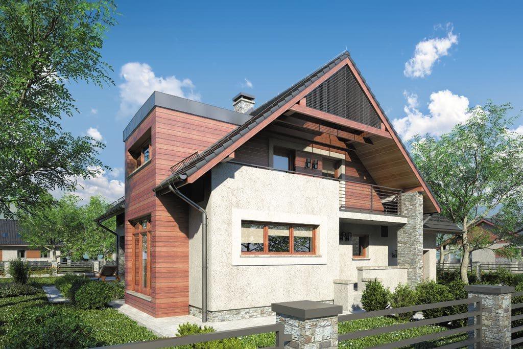 Проект мансардного дома с гаражом, террасой и балконом «КМ-86» - фото №4