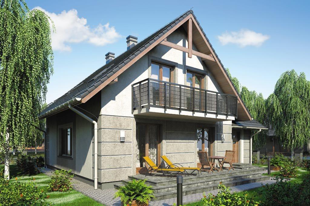 Проект мансардного дома с гаражом, террасой и балконом «КМ-71» - фото №5