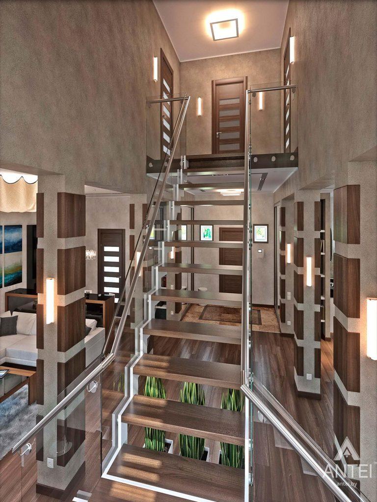 Дизайн интерьера загородного дома в Гомеле - лестница фото №1
