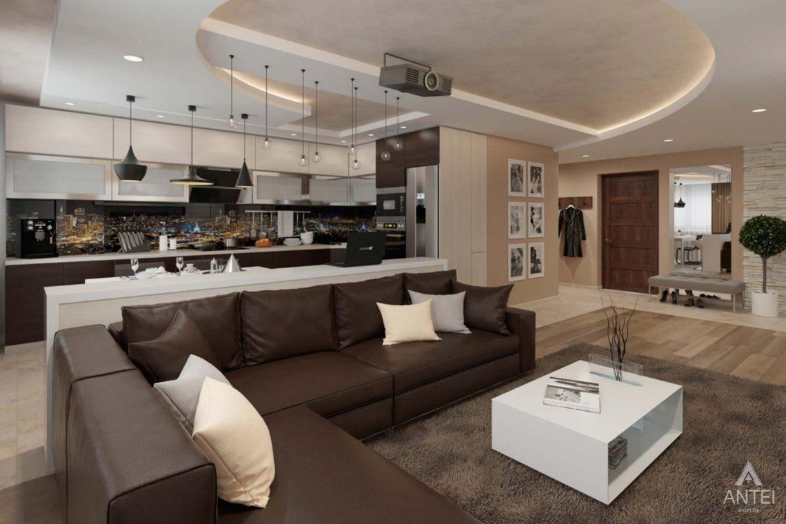 Дизайн интерьера квартиры в г. Гомеле, ул. Кожара, 55 - кухня-гостиная фото №2