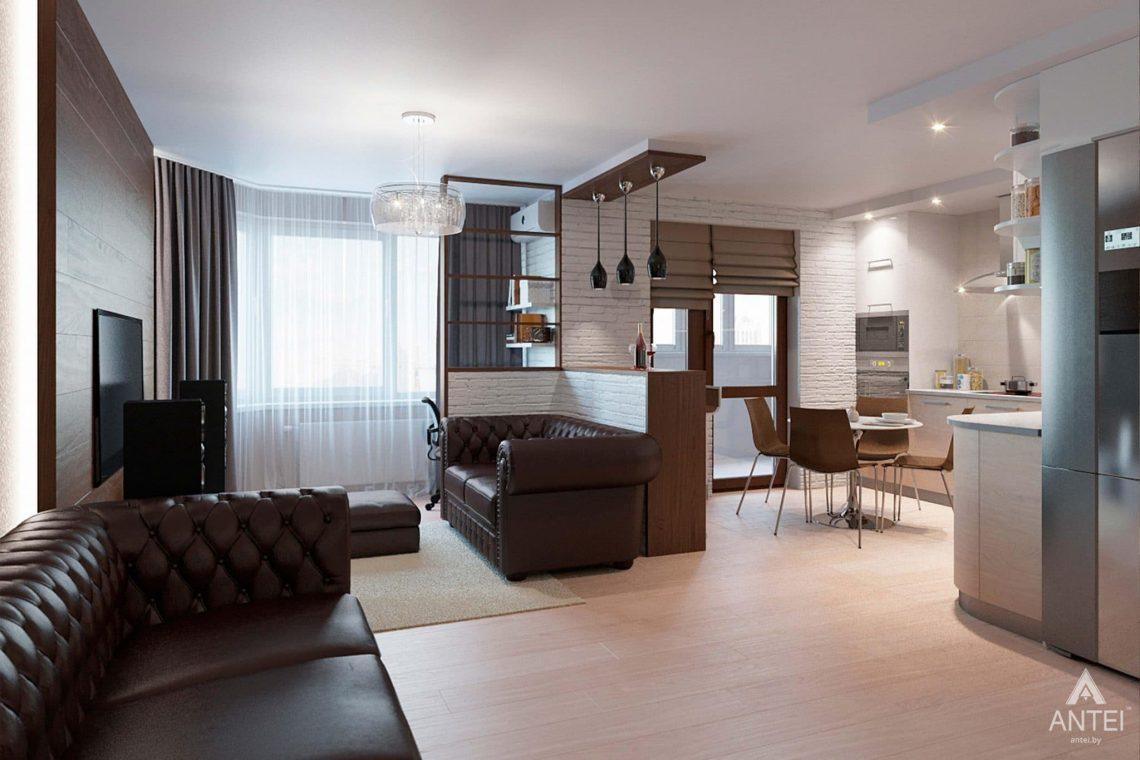 Дизайн интерьера квартиры в Гомеле, ул. Ландышева, 14 - кухня-гостиная фото №1