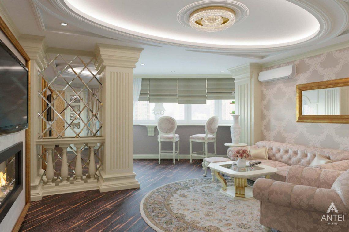 Дизайн интерьера квартиры в Гомеле, ул. Кожара, 59а - гостиная фото №1