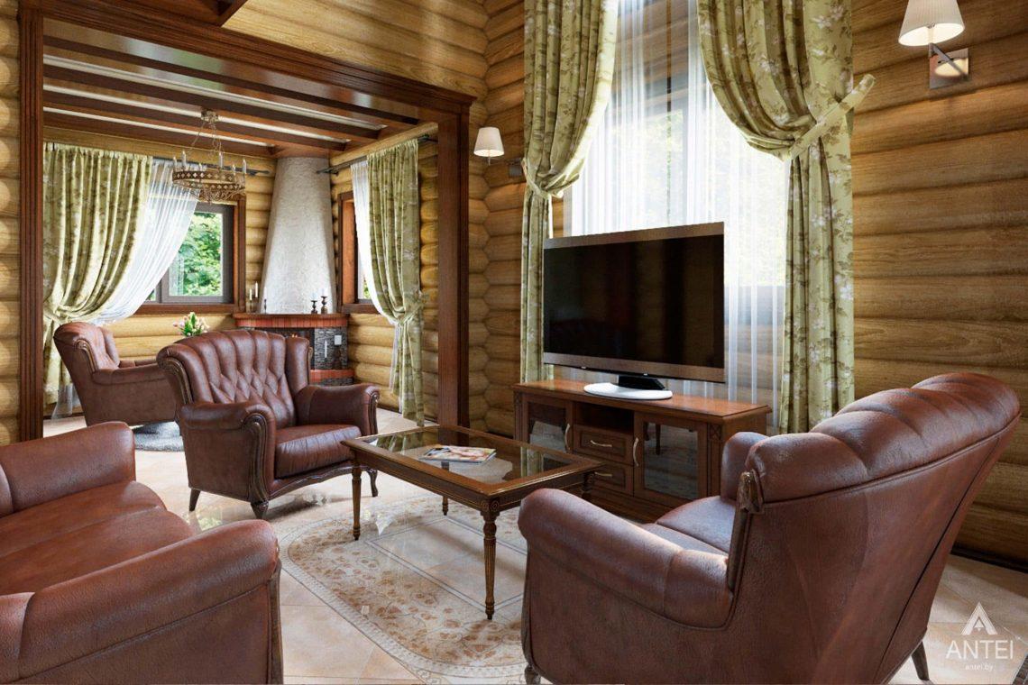 Дизайн интерьера загородного дома в Гомеле, р-не Романовичи - гостиная фото №1